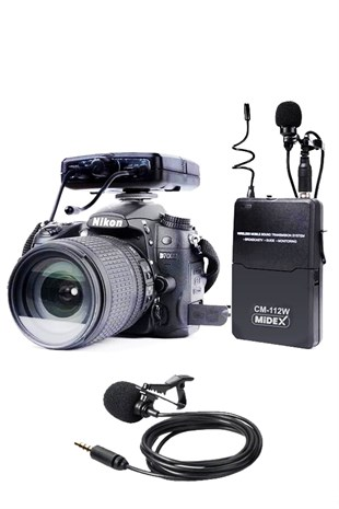 Midex CM-112W Kablosuz Dslr Video Kamera Yaka Mikrofonu